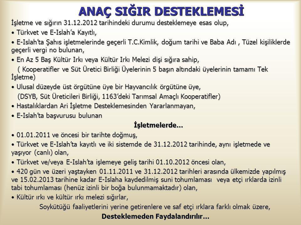 ANAÇ SIĞIR DESTEKLEMESİ İşletme ve sığırın 31.12.2012 tarihindeki durumu desteklemeye esas olup, Türkvet ve E-Islah'a Kayıtlı, Türkvet ve E-Islah'a Ka