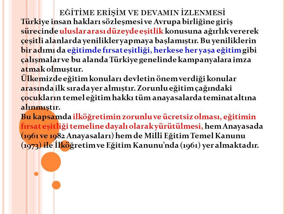 EĞİTİME ERİŞİM VE DEVAMIN İZLENMESİ Türkiye insan hakları sözleşmesi ve Avrupa birliğine giriş sürecinde uluslar arası düzeyde eşitlik konusuna ağırlı