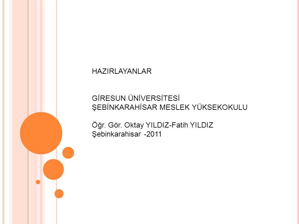 HAZIRLAYANLAR GİRESUN ÜNİVERSİTESİ ŞEBİNKARAHİSAR MESLEK YÜKSEKOKULU Öğr. Gör. Oktay YILDIZ-Fatih YILDIZ Şebinkarahisar -2011