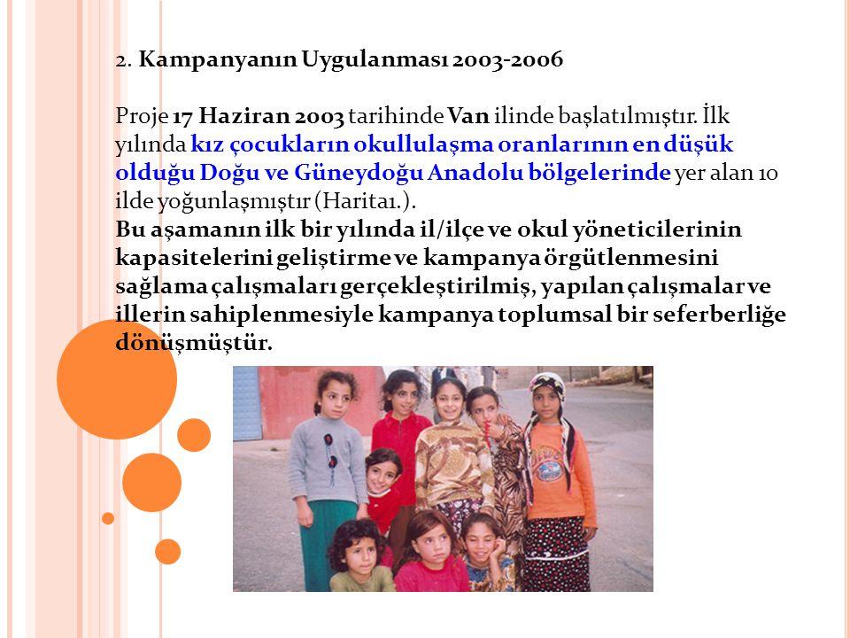 2. Kampanyanın Uygulanması 2003-2006 Proje 17 Haziran 2003 tarihinde Van ilinde başlatılmıştır. İlk yılında kız çocukların okullulaşma oranlarının en