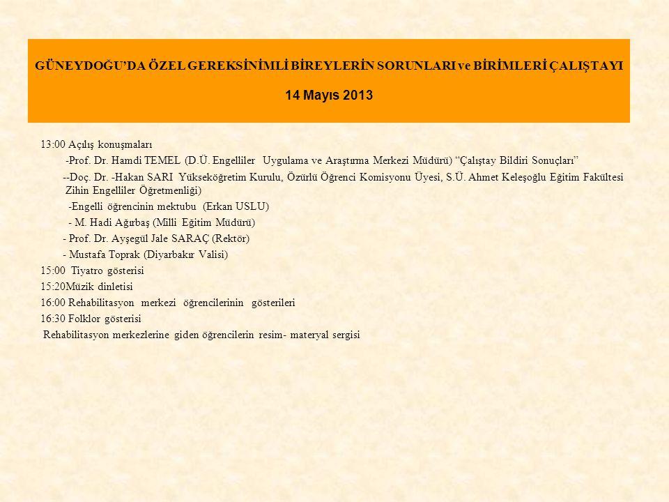 GÜNEYDOĞU'DA ÖZEL GEREKSİNİMLİ BİREYLERİN SORUNLARI ve BİRİMLERİ ÇALIŞTAYI 14 Mayıs 2013 13:00 Açılış konuşmaları -Prof. Dr. Hamdi TEMEL (D.Ü. Engelli