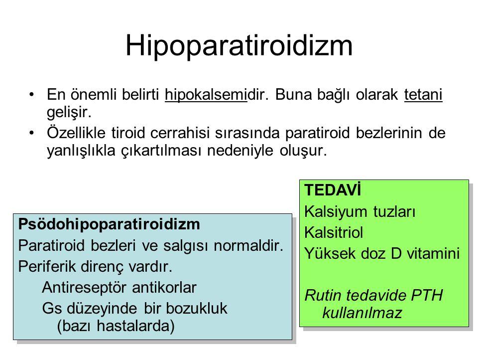 Hipoparatiroidizm En önemli belirti hipokalsemidir. Buna bağlı olarak tetani gelişir. Özellikle tiroid cerrahisi sırasında paratiroid bezlerinin de ya