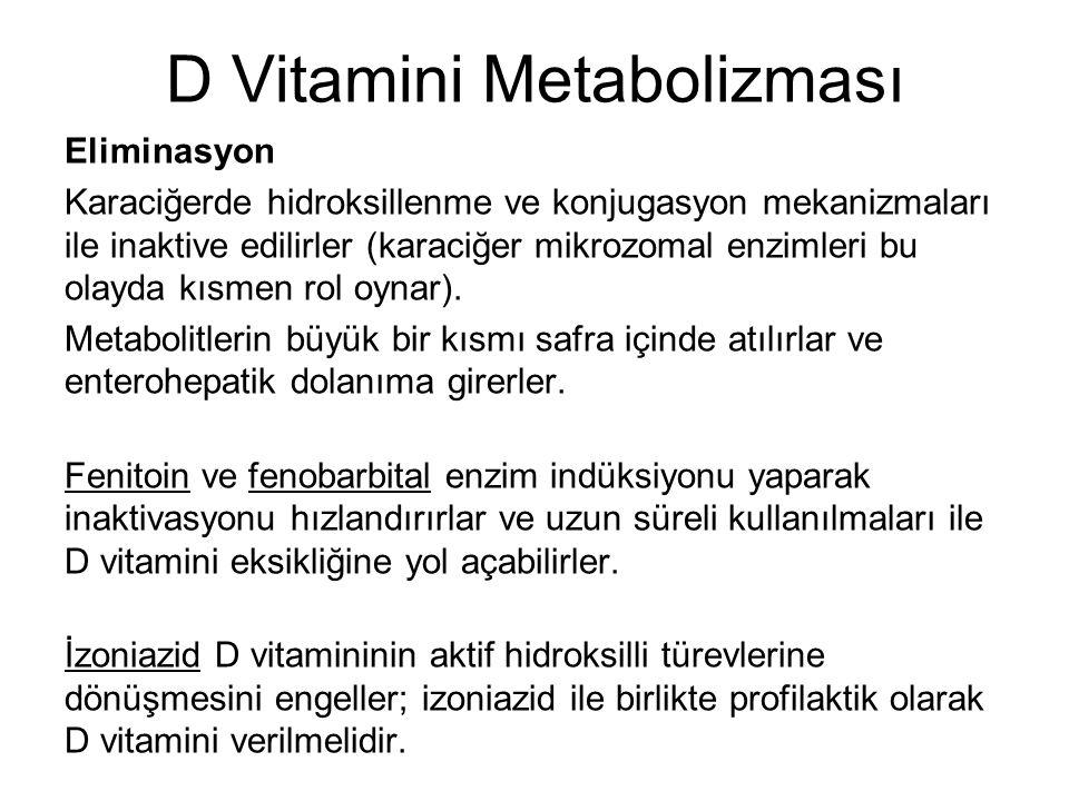 D Vitamini Metabolizması Eliminasyon Karaciğerde hidroksillenme ve konjugasyon mekanizmaları ile inaktive edilirler (karaciğer mikrozomal enzimleri bu olayda kısmen rol oynar).