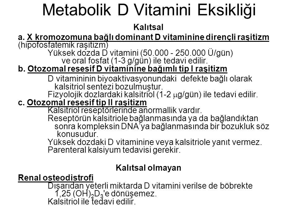 Metabolik D Vitamini Eksikliği Kalıtsal a. X kromozomuna bağlı dominant D vitaminine dirençli raşitizm (hipofosfatemik raşitizm) Yüksek dozda D vitami