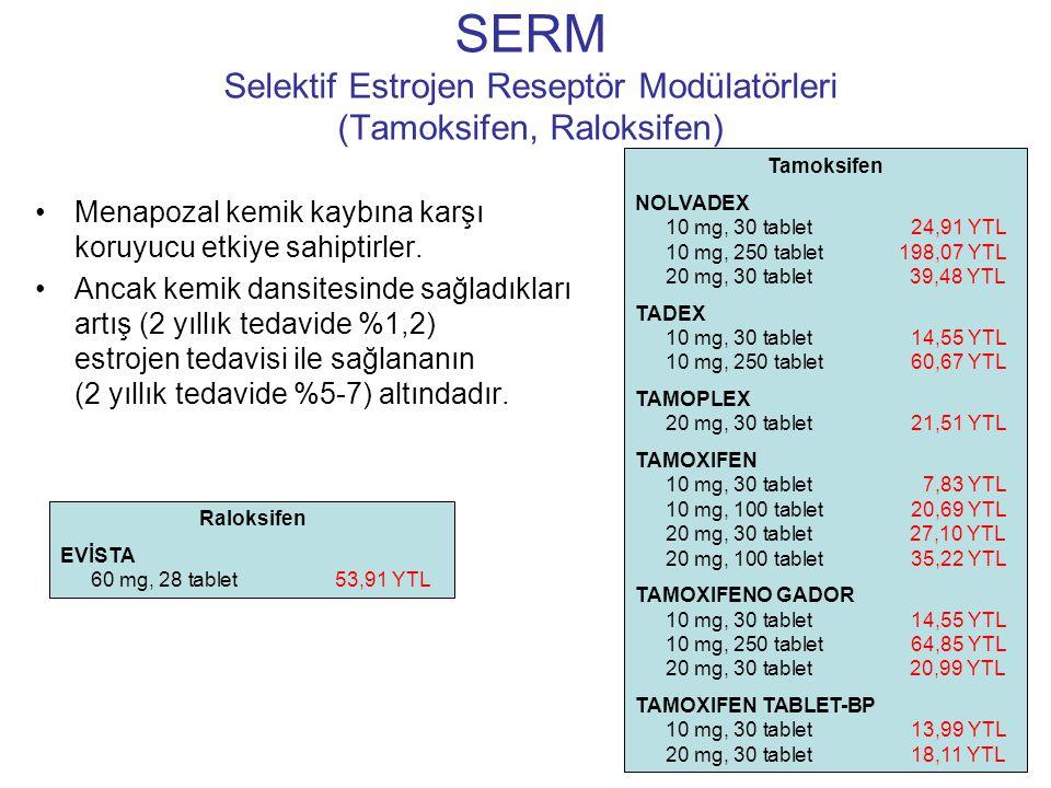 SERM Selektif Estrojen Reseptör Modülatörleri (Tamoksifen, Raloksifen) Menapozal kemik kaybına karşı koruyucu etkiye sahiptirler. Ancak kemik dansites
