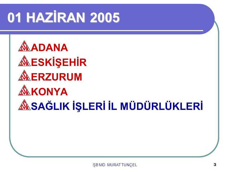 ŞB.MD. MURAT TUNÇEL3 01 HAZİRAN 2005 ADANA ESKİŞEHİR ERZURUM KONYA SAĞLIK İŞLERİ İL MÜDÜRLÜKLERİ