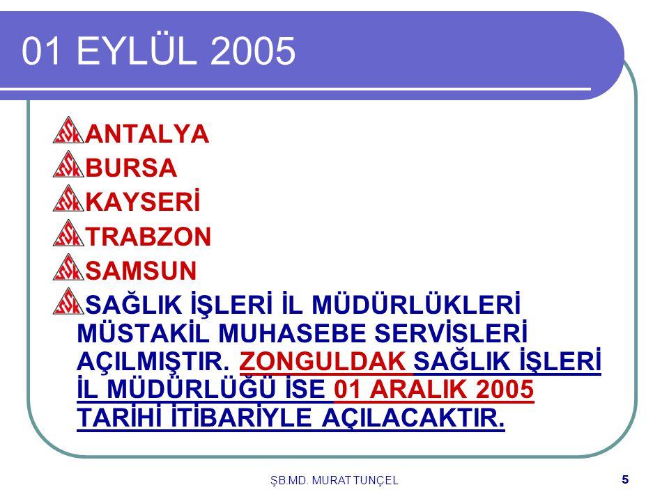 ŞB.MD. MURAT TUNÇEL4 01.AĞUSTOS 2005 DİYARBAKIRGAZİANTEPKOCAELİ SAĞLIK İŞLERİ İL MÜDÜRLÜKLERİ