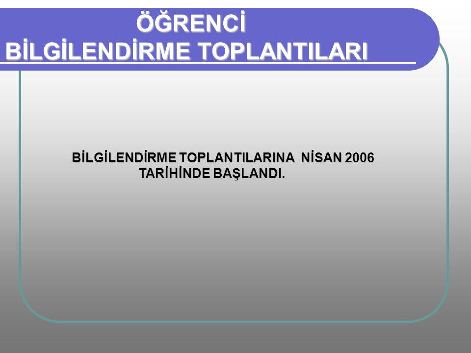 BİLGİLENDİRME TOPLANTILARINA NİSAN 2006 TARİHİNDE BAŞLANDI.