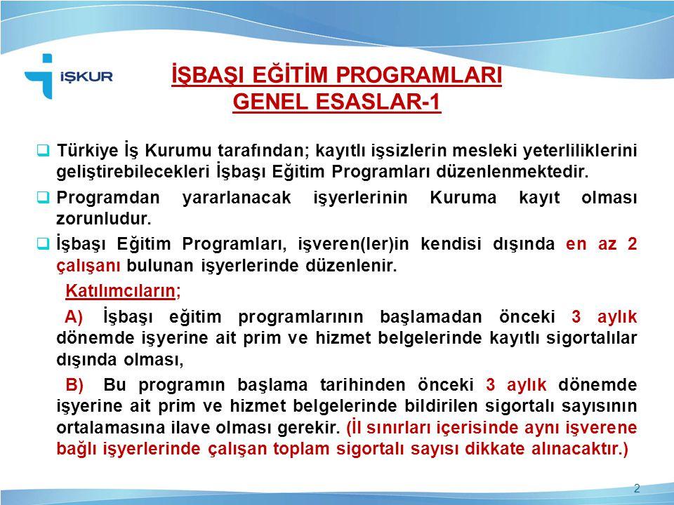 İŞBAŞI EĞİTİM PROGRAMLARI GENEL ESASLAR-1  Türkiye İş Kurumu tarafından; kayıtlı işsizlerin mesleki yeterliliklerini geliştirebilecekleri İşbaşı Eğit