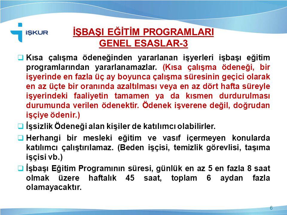 İŞBAŞI EĞİTİM PROGRAMLARI GENEL ESASLAR-3  Kısa çalışma ödeneğinden yararlanan işyerleri işbaşı eğitim programlarından yararlanamazlar. (Kısa çalışma