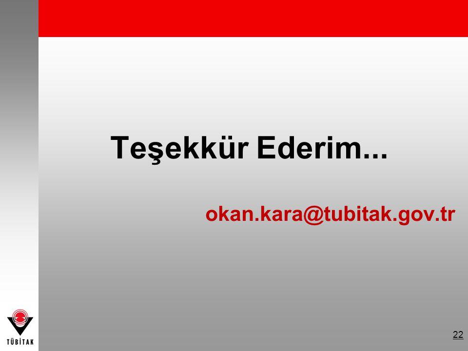 Teşekkür Ederim... okan.kara@tubitak.gov.tr 22