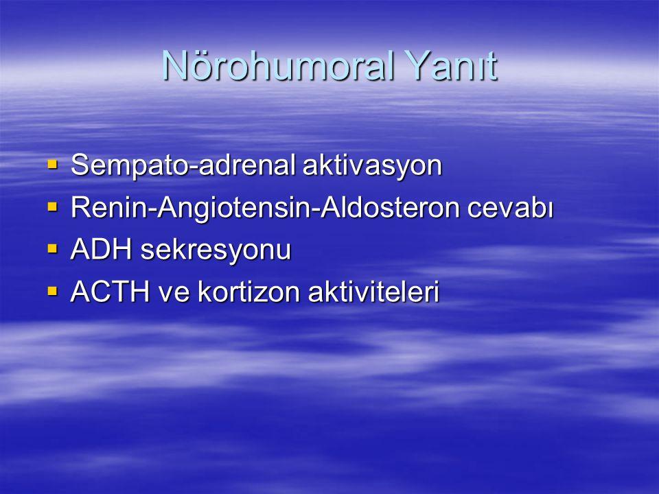 Nörohumoral Yanıt  Sempato-adrenal aktivasyon  Renin-Angiotensin-Aldosteron cevabı  ADH sekresyonu  ACTH ve kortizon aktiviteleri