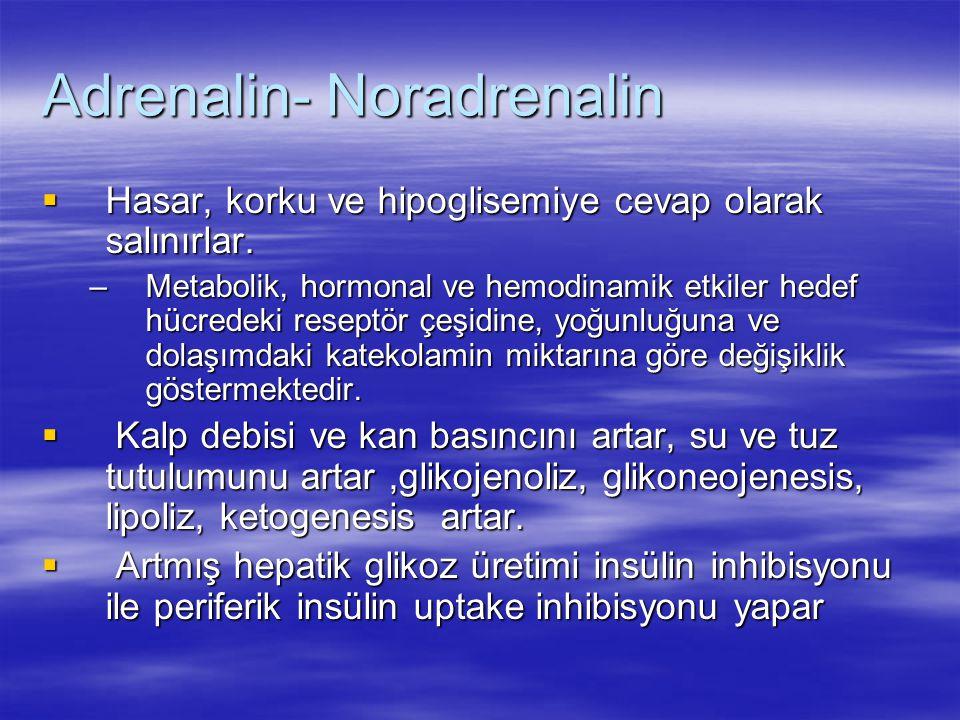 Adrenalin- Noradrenalin  Hasar, korku ve hipoglisemiye cevap olarak salınırlar. –Metabolik, hormonal ve hemodinamik etkiler hedef hücredeki reseptör