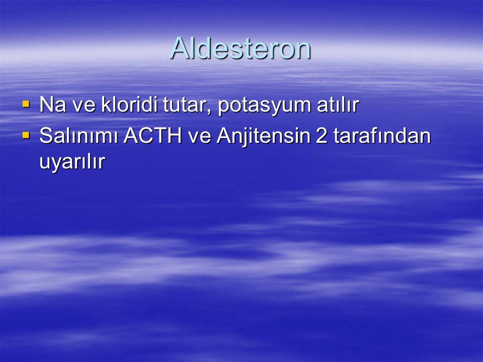 Aldesteron  Na ve kloridi tutar, potasyum atılır  Salınımı ACTH ve Anjitensin 2 tarafından uyarılır