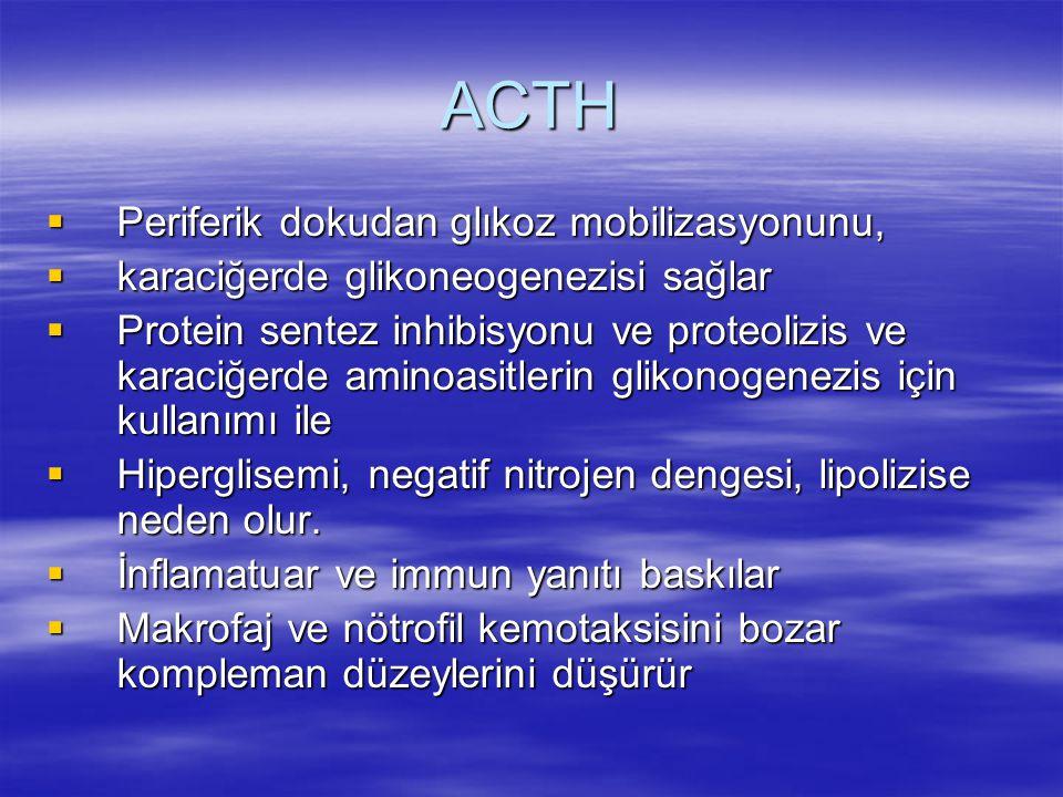 ACTH  Periferik dokudan glıkoz mobilizasyonunu,  karaciğerde glikoneogenezisi sağlar  Protein sentez inhibisyonu ve proteolizis ve karaciğerde amin