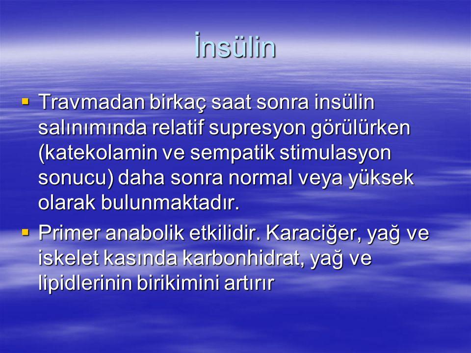 İnsülin  Travmadan birkaç saat sonra insülin salınımında relatif supresyon görülürken (katekolamin ve sempatik stimulasyon sonucu) daha sonra normal