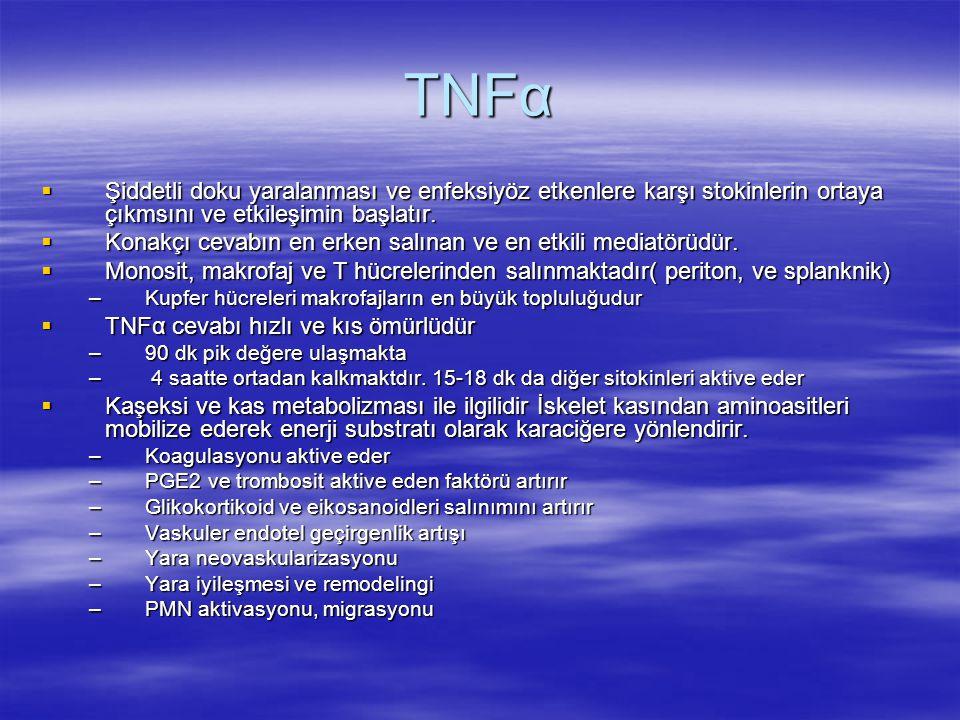 TNFα  Şiddetli doku yaralanması ve enfeksiyöz etkenlere karşı stokinlerin ortaya çıkmsını ve etkileşimin başlatır.  Konakçı cevabın en erken salınan