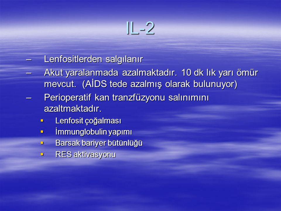 IL-2 –Lenfositlerden salgılanır –Akut yaralanmada azalmaktadır. 10 dk lık yarı ömür mevcut. (AİDS tede azalmış olarak bulunuyor) –Perioperatif kan tra