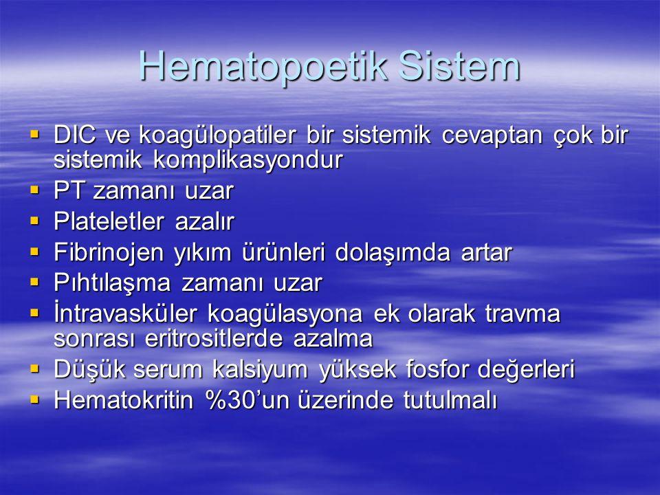 Hematopoetik Sistem  DIC ve koagülopatiler bir sistemik cevaptan çok bir sistemik komplikasyondur  PT zamanı uzar  Plateletler azalır  Fibrinojen