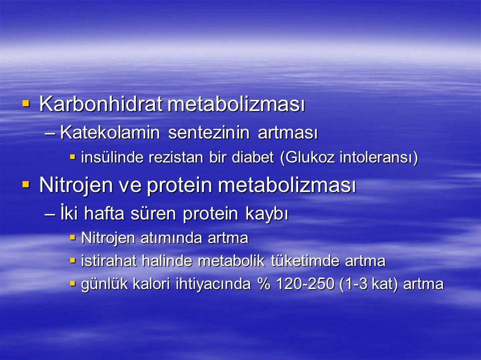  Karbonhidrat metabolizması –Katekolamin sentezinin artması  insülinde rezistan bir diabet (Glukoz intoleransı)  Nitrojen ve protein metabolizması