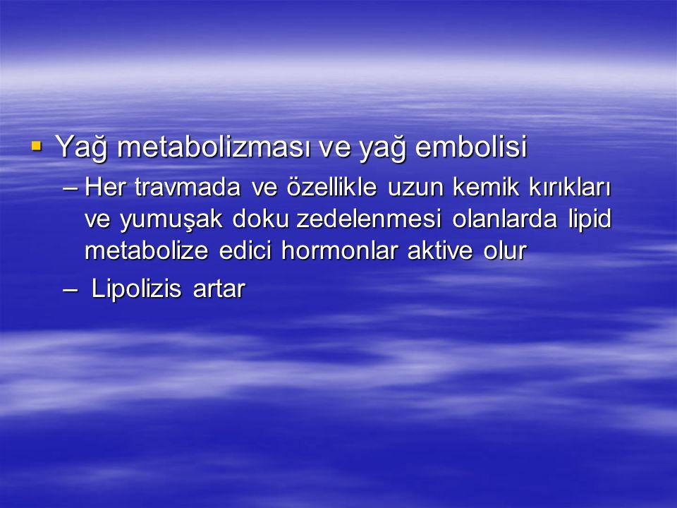  Yağ metabolizması ve yağ embolisi –Her travmada ve özellikle uzun kemik kırıkları ve yumuşak doku zedelenmesi olanlarda lipid metabolize edici hormo