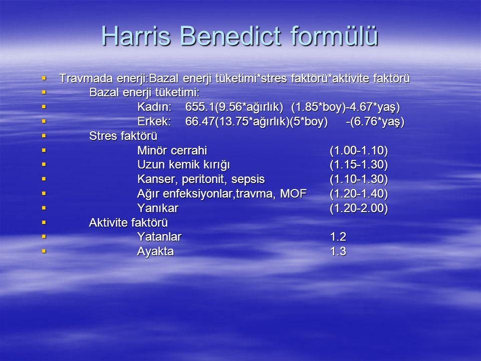 Harris Benedict formülü  Travmada enerji:Bazal enerji tüketimi*stres faktörü*aktivite faktörü  Bazal enerji tüketimi:  Kadın:655.1(9.56*ağırlık) (1