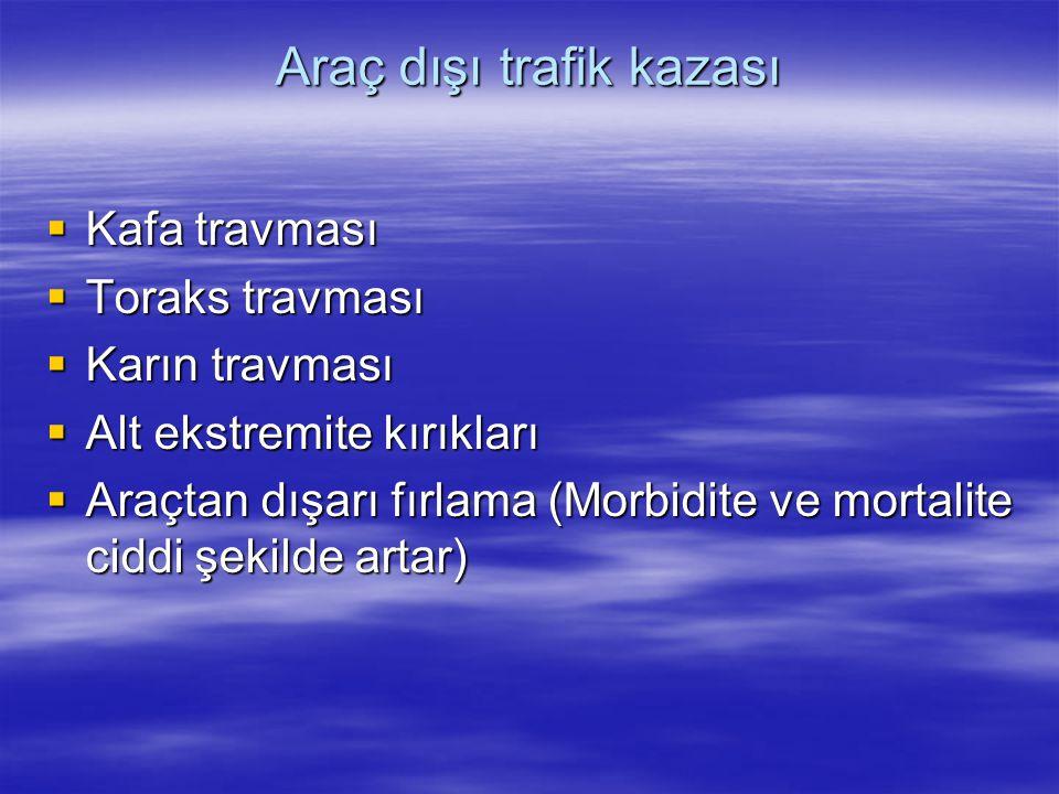 Araç dışı trafik kazası  Kafa travması  Toraks travması  Karın travması  Alt ekstremite kırıkları  Araçtan dışarı fırlama (Morbidite ve mortalite