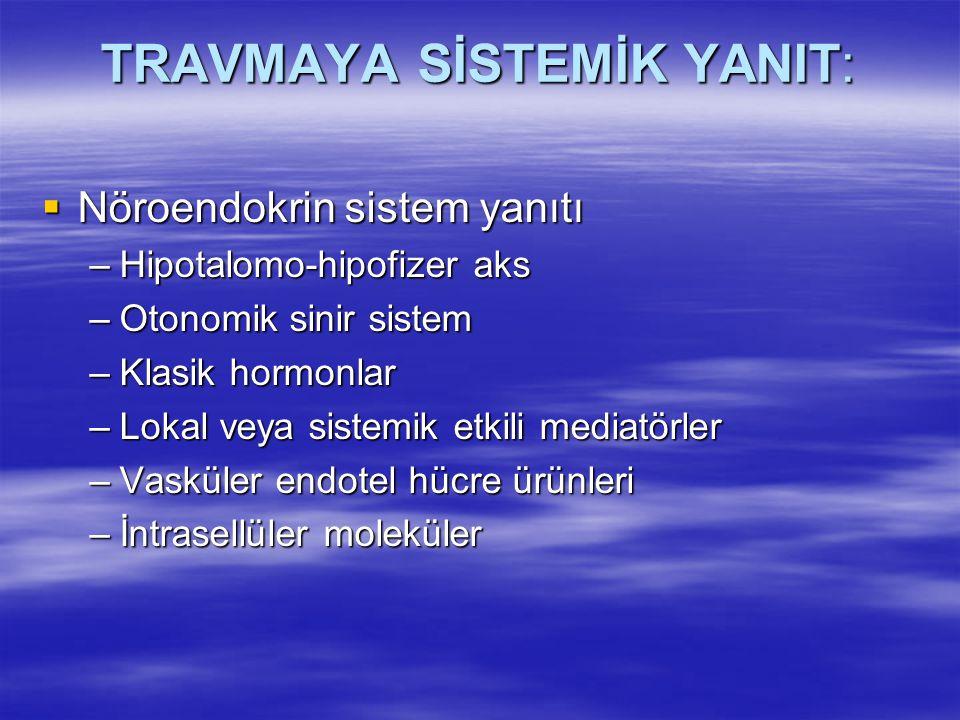 TRAVMAYA SİSTEMİK YANIT:  Nöroendokrin sistem yanıtı –Hipotalomo-hipofizer aks –Otonomik sinir sistem –Klasik hormonlar –Lokal veya sistemik etkili m