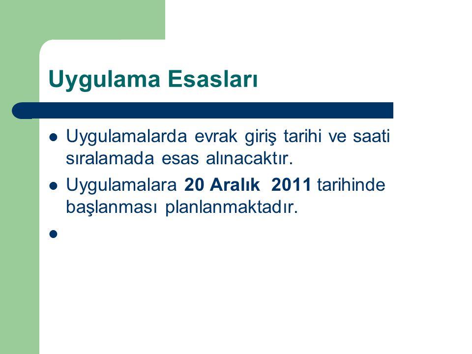 Uygulama Esasları Uygulamalarda evrak giriş tarihi ve saati sıralamada esas alınacaktır. Uygulamalara 20 Aralık 2011 tarihinde başlanması planlanmakta