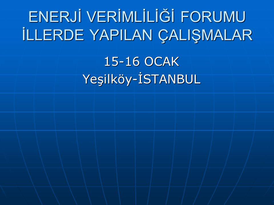 ENERJİ VERİMLİLİĞİ FORUMU İLLERDE YAPILAN ÇALIŞMALAR 15-16 OCAK Yeşilköy-İSTANBUL