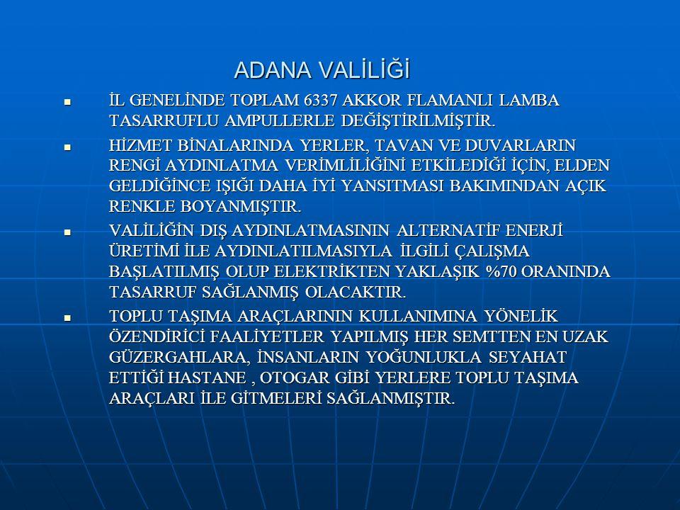 ADANA VALİLİĞİ İL GENELİNDE TOPLAM 6337 AKKOR FLAMANLI LAMBA TASARRUFLU AMPULLERLE DEĞİŞTİRİLMİŞTİR.