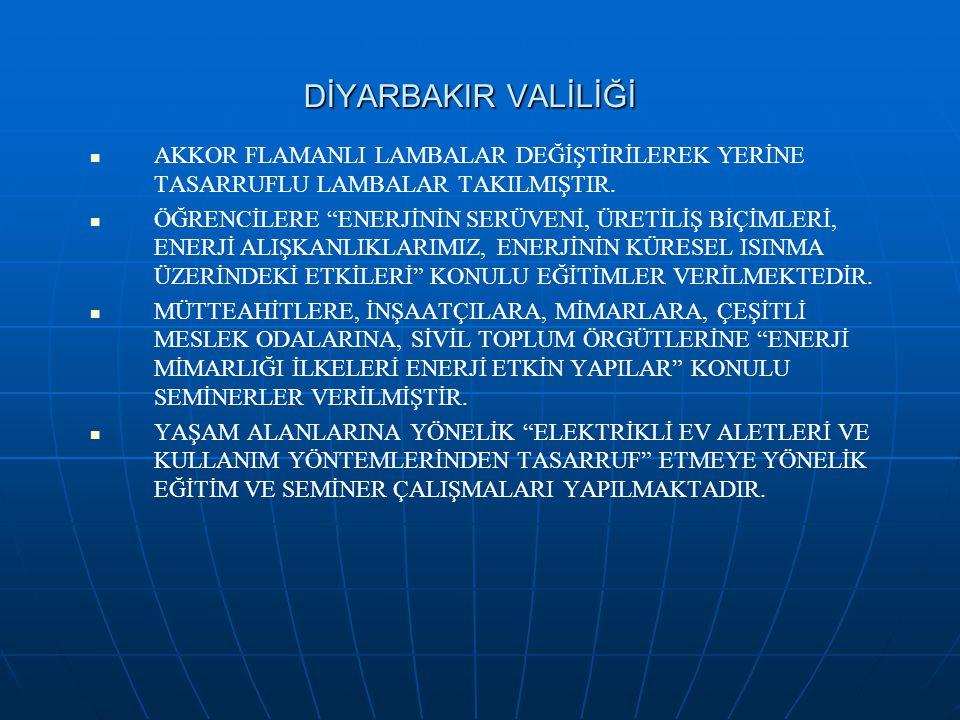 """DİYARBAKIR VALİLİĞİ AKKOR FLAMANLI LAMBALAR DEĞİŞTİRİLEREK YERİNE TASARRUFLU LAMBALAR TAKILMIŞTIR. ÖĞRENCİLERE """"ENERJİNİN SERÜVENİ, ÜRETİLİŞ BİÇİMLERİ"""