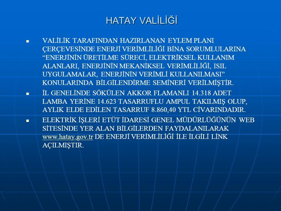 """HATAY VALİLİĞİ VALİLİK TARAFINDAN HAZIRLANAN EYLEM PLANI ÇERÇEVESİNDE ENERJİ VERİMLİLİĞİ BİNA SORUMLULARINA """"ENERJİNİN ÜRETİLME SÜRECİ, ELEKTRİKSEL KU"""