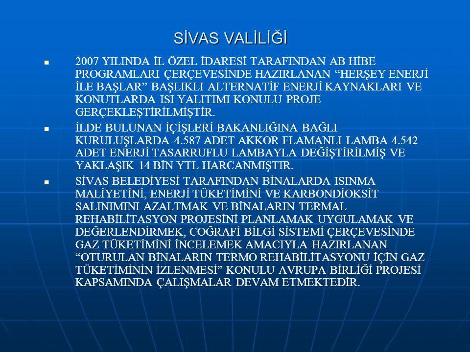 """SİVAS VALİLİĞİ 2007 YILINDA İL ÖZEL İDARESİ TARAFINDAN AB HİBE PROGRAMLARI ÇERÇEVESİNDE HAZIRLANAN """"HERŞEY ENERJİ İLE BAŞLAR"""" BAŞLIKLI ALTERNATİF ENER"""