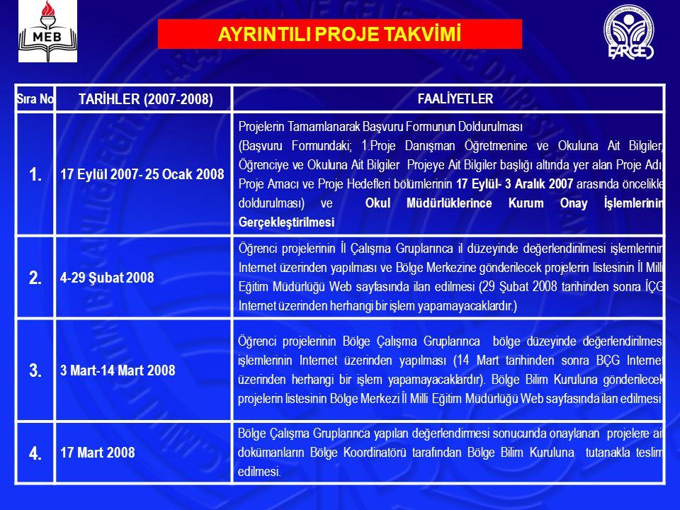 AYRINTILI PROJE TAKVİMİ Sıra No TARİHLER (2007-2008) FAALİYETLER 1. 17 Eylül 2007- 25 Ocak 2008 Projelerin Tamamlanarak Başvuru Formunun Doldurulması