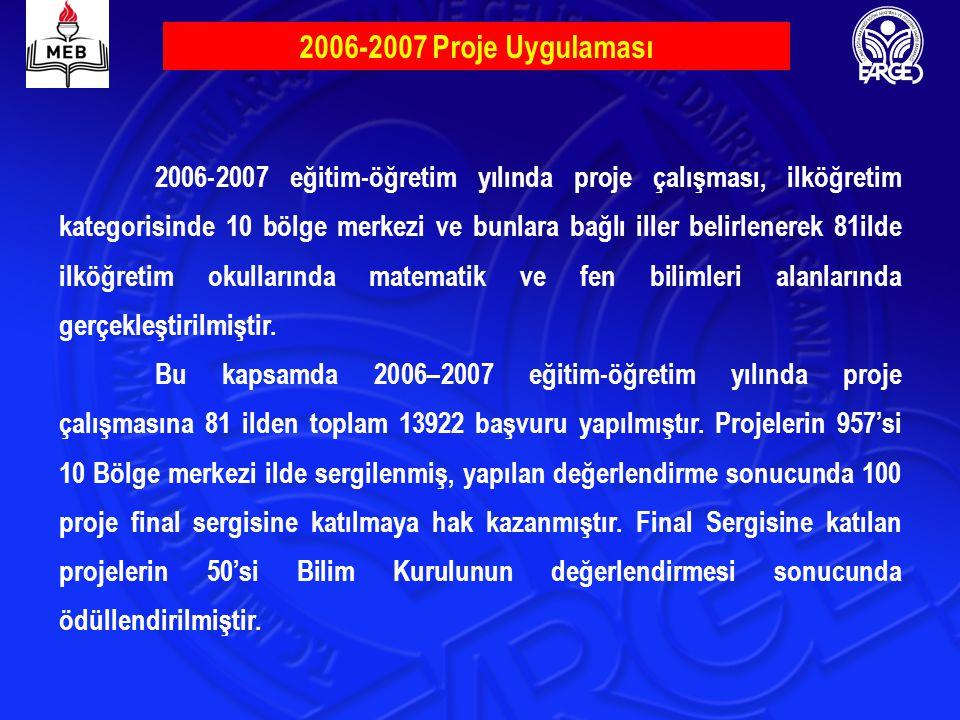 2006-2007 Proje Uygulaması 2006-2007 eğitim-öğretim yılında proje çalışması, ilköğretim kategorisinde 10 bölge merkezi ve bunlara bağlı iller belirlen
