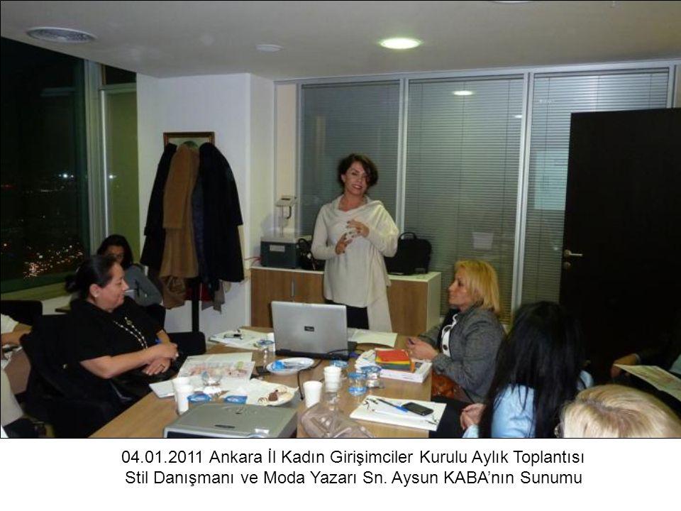 04.01.2011 Ankara İl Kadın Girişimciler Kurulu Aylık Toplantısı Stil Danışmanı ve Moda Yazarı Sn. Aysun KABA'nın Sunumu
