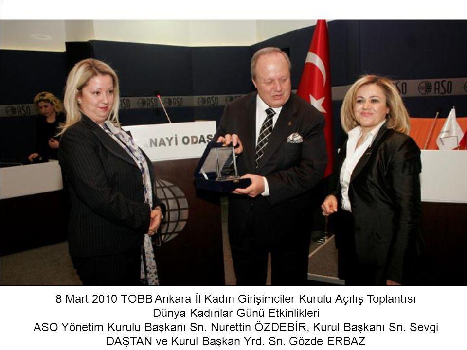 8 Mart 2010 TOBB Ankara İl Kadın Girişimciler Kurulu Açılış Toplantısı Dünya Kadınlar Günü Etkinlikleri ASO Yönetim Kurulu Başkanı Sn. Nurettin ÖZDEBİ