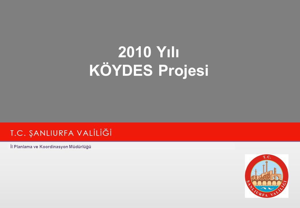İl Planlama ve Koordinasyon Müdürlüğü 2 www.sanliurfa.gov.tr 20.11.2014 KÖYDES 2010 2005-2010 yılları arası toplam 166.592.000-TL ödenek aktarılmıştır.