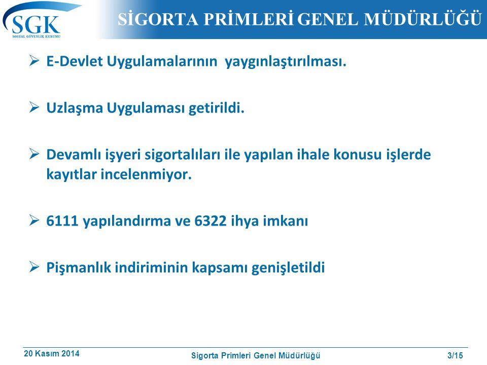 20 Kasım 2014 3/15 SİGORTA PRİMLERİ GENEL MÜDÜRLÜĞÜ  E-Devlet Uygulamalarının yaygınlaştırılması.