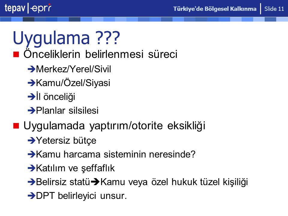 Türkiye de Bölgesel Kalkınma Slide 11 Uygulama .