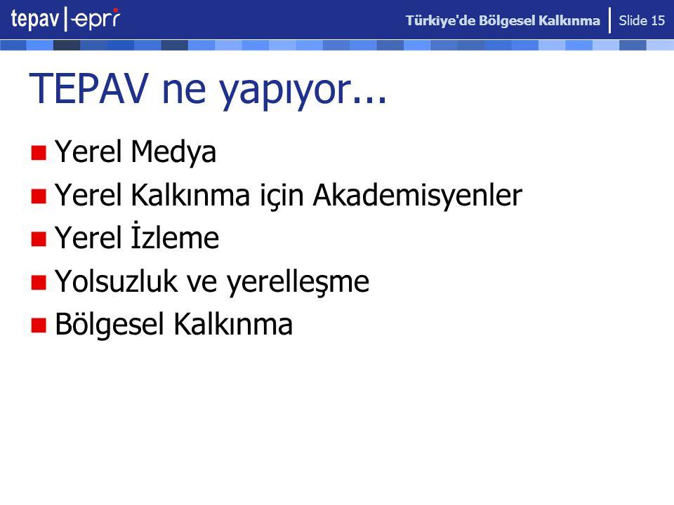 Türkiye de Bölgesel Kalkınma Slide 15 TEPAV ne yapıyor...