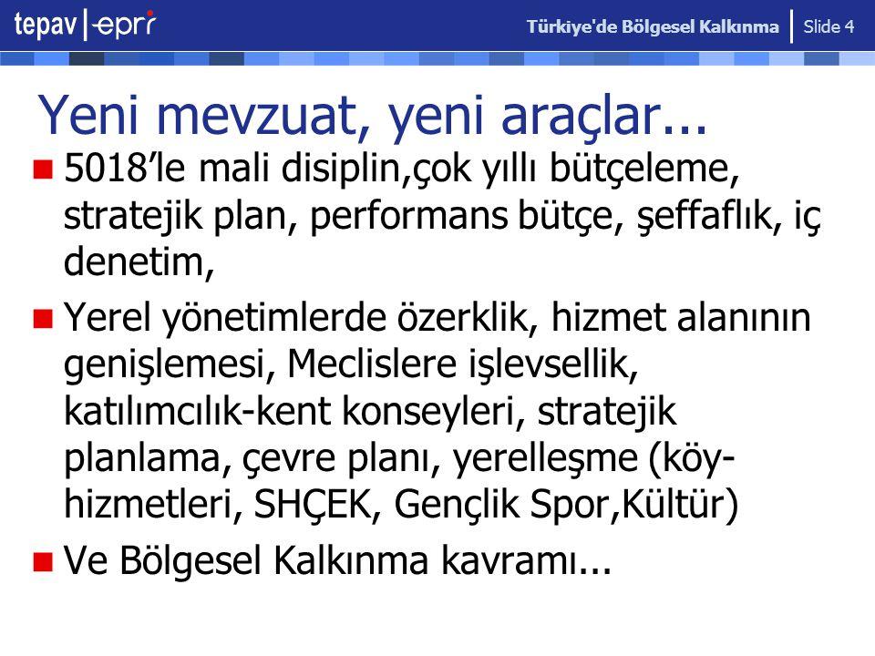 Türkiye de Bölgesel Kalkınma Slide 4 Yeni mevzuat, yeni araçlar...