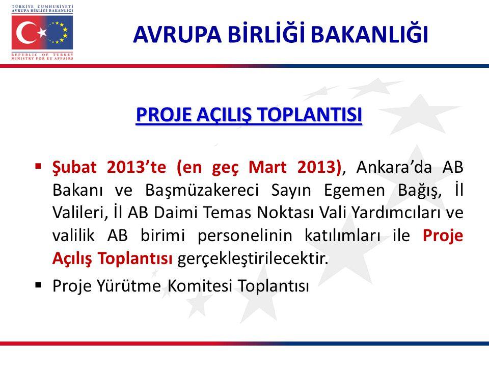 PROJE AÇILIŞ TOPLANTISI  Şubat 2013'te (en geç Mart 2013), Ankara'da AB Bakanı ve Başmüzakereci Sayın Egemen Bağış, İl Valileri, İl AB Daimi Temas Noktası Vali Yardımcıları ve valilik AB birimi personelinin katılımları ile Proje Açılış Toplantısı gerçekleştirilecektir.