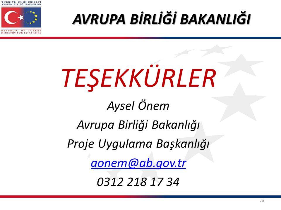 TEŞEKKÜRLER Aysel Önem Avrupa Birliği Bakanlığı Proje Uygulama Başkanlığı aonem@ab.gov.tr 0312 218 17 34 18 AVRUPA BİRLİĞİ BAKANLIĞI