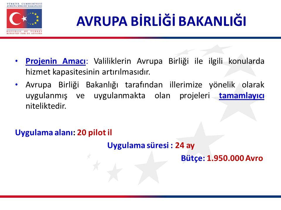 Projenin Amacı: Valiliklerin Avrupa Birliği ile ilgili konularda hizmet kapasitesinin artırılmasıdır.