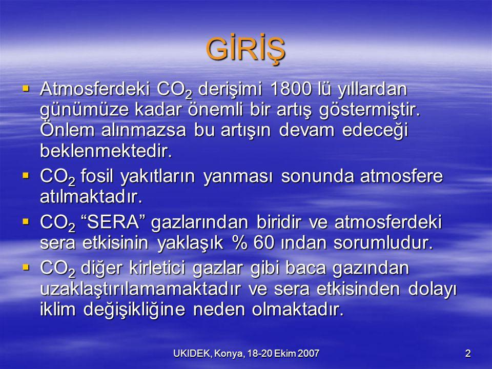 UKIDEK, Konya, 18-20 Ekim 20072 GİRİŞ  Atmosferdeki CO 2 derişimi 1800 lü yıllardan günümüze kadar önemli bir artış göstermiştir. Önlem alınmazsa bu