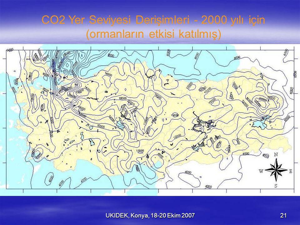 UKIDEK, Konya, 18-20 Ekim 200721 CO2 Yer Seviyesi Derişimleri - 2000 yılı için (ormanların etkisi katılmış)