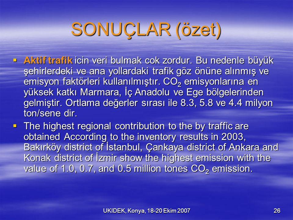 UKIDEK, Konya, 18-20 Ekim 200726 SONUÇLAR (özet)  Aktif trafik icin veri bulmak cok zordur. Bu nedenle büyük şehirlerdeki ve ana yollardaki trafik gö