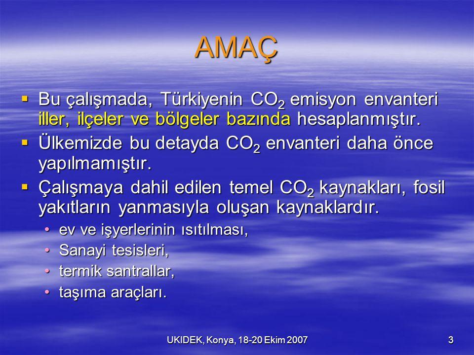 UKIDEK, Konya, 18-20 Ekim 20073 AMAÇ  Bu çalışmada, Türkiyenin CO 2 emisyon envanteri iller, ilçeler ve bölgeler bazında hesaplanmıştır.  Ülkemizde